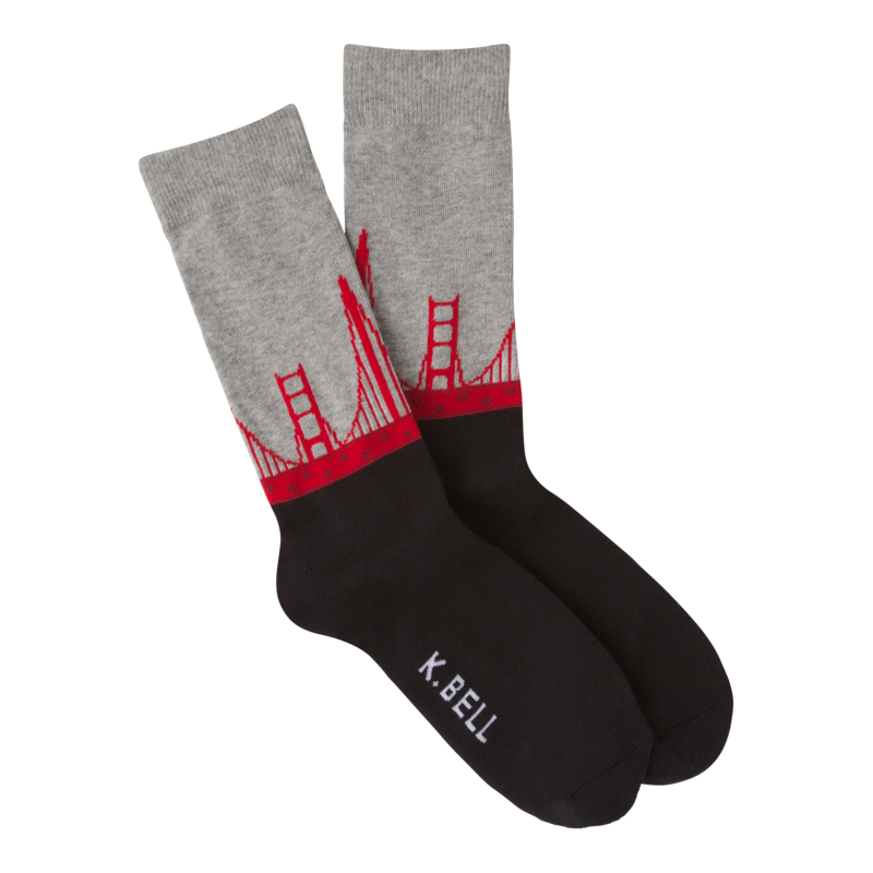 Men's Golden Gate Bridge Crew Socks in Gray and Black