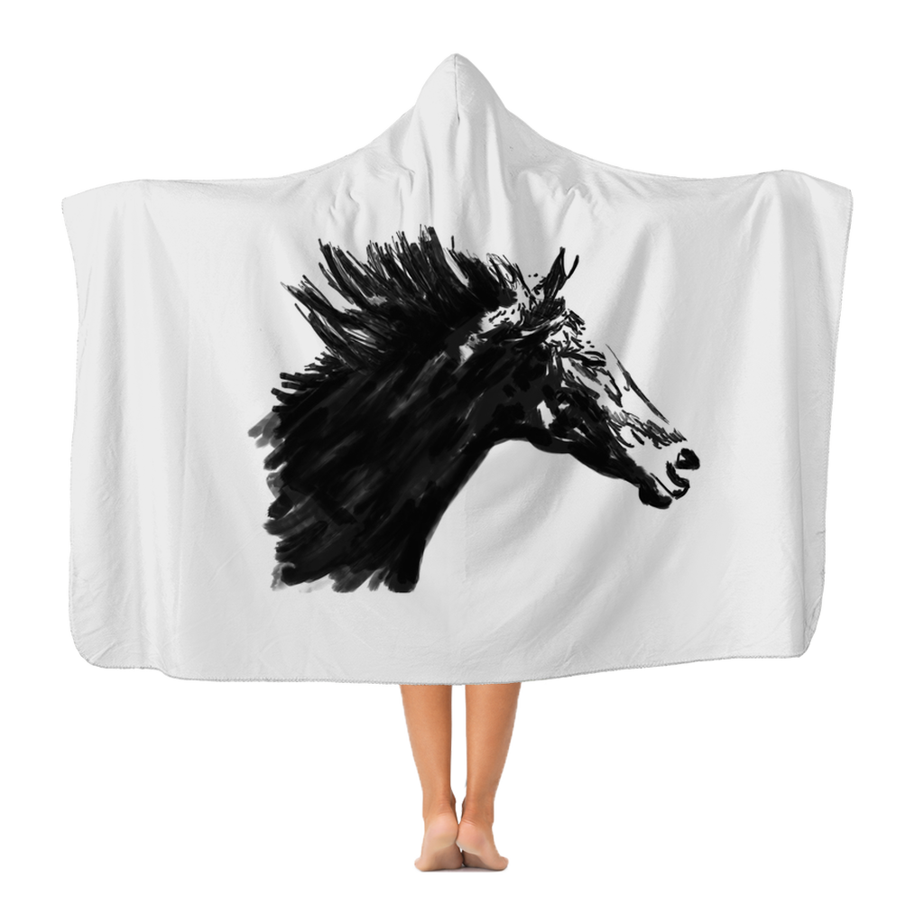 Black Horse Premium Adult Hooded Blanket