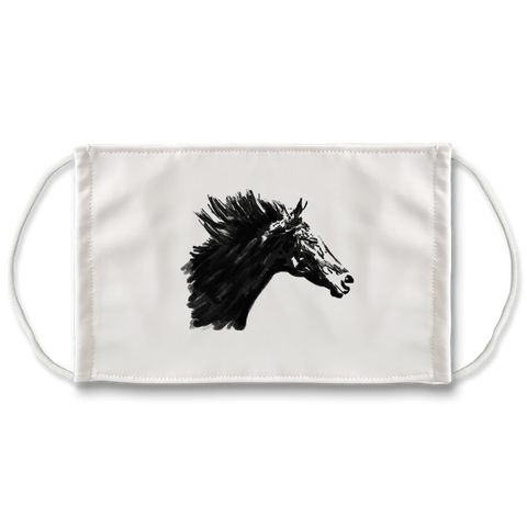 Black Horse Sublimation Face Mask
