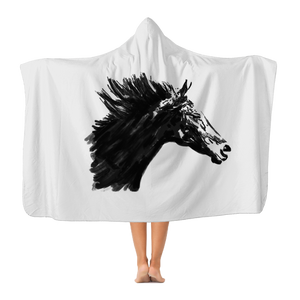 Black Horse Classic Adult Hooded Blanket