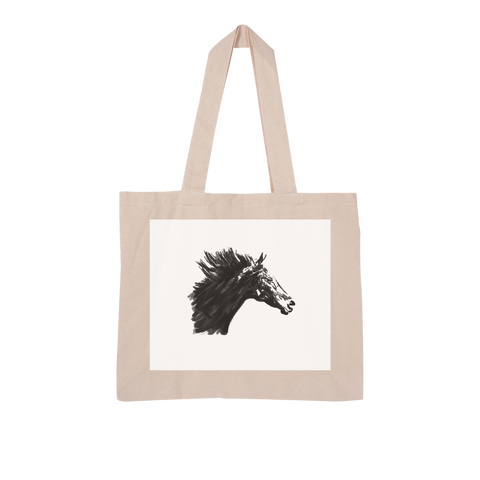 Black Horse Large Organic Tote Bag