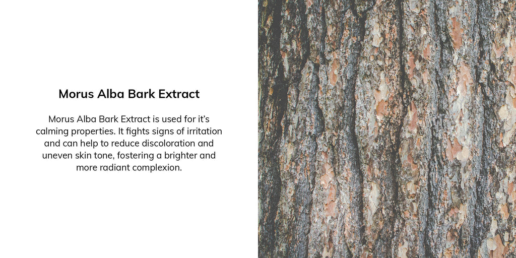 Morus Alba Bark Extract is used for it's calming properties. It fights signs of irritation and can help to reduce discoloration and uneven skin tone, fostering a brighter and more radiant complexion.