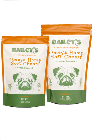 Omega Hemp Soft Chews for Dogs- Bacon Flavored by Bailey's Pet CBD Bailey's