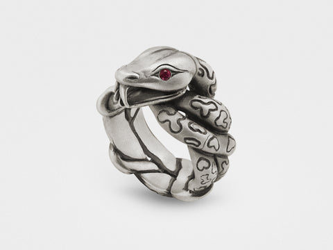 Snake Ring With Rubies in Sterling Silver Jewelry & Accessories - Rings Snake Bones