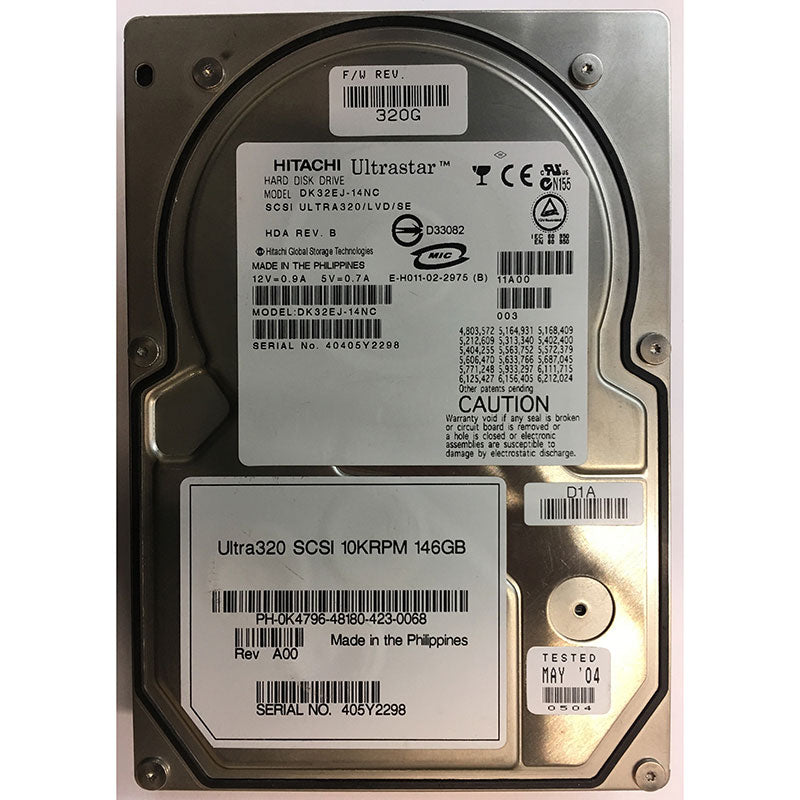 K4796 Dell 146GB 80 Pin SCSI Hard Drive