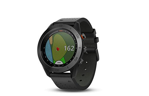 Garmin Approach S60, Premium GPS Golf Watch with Touchscreen Display and Full Color CourseView Mapping, Black w/ Leather Band - wiihuu
