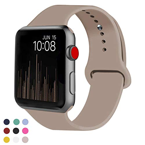 VATI Sport Band Compatible for Apple Watch Band 38mm 40mm, Soft Silicone Sport Strap Replacement Bands Compatible with 2019 Apple Watch Series 5, iWatch 4/3/2/1, 38MM 40MM M/L (Walnut) - wiihuu