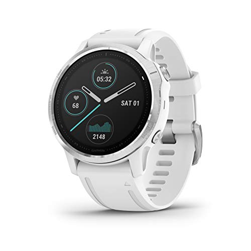 Garmin Fenix 6S, Premium Multisport GPS Watch, Smaller-Sized, Heat and Altitude Adjusted V02 Max, Pulse Ox Sensors and Training Load Focus, 42mm, White - wiihuu