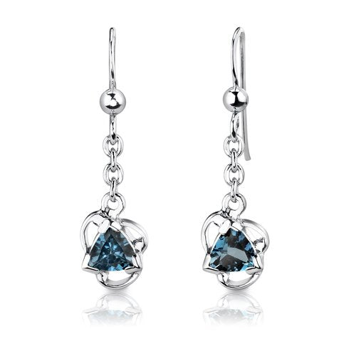 London Blue Topaz Pendant Earrings Necklace Set Sterling Silver 2.75 Carats - wiihuu