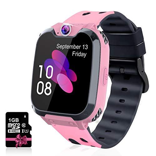 Leoninhow Kids Smartwatch - Phone Watch for Boys Girls with Phone Calls 7 Games Music MP3 Player 1GB SD Card SOS Silent Mode Smart Watch for Children Student 3-12 Years Old as Birthday Gift (Pink) - wiihuu