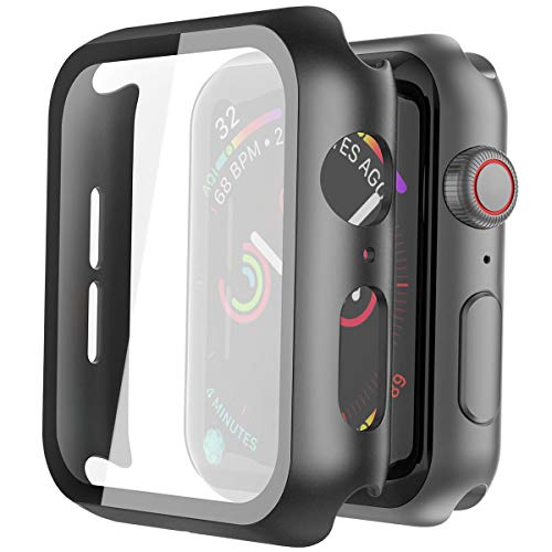 Misxi Black Hard Case Compatible with Apple Watch Series 5 Series 4 44mm with Screen Protector, Hard PC Case Slim Tempered Glass Screen Protector Overall Protective Cover for iwatch Series 5/4 - wiihuu