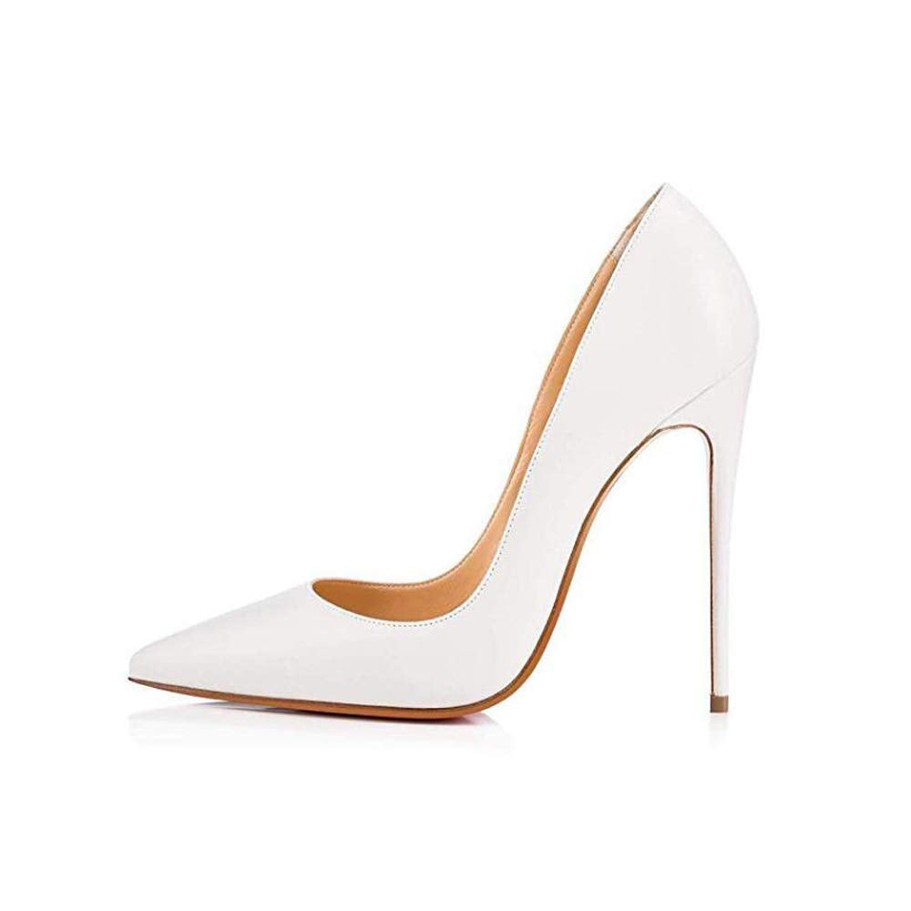 Elisabet Tang Women Pumps, Pointed Toe High Heel 4.7 inch/12cm Sexy High Heels Matte WH 11 White - wiihuu