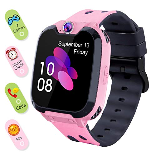 Smart Watch for Kids Boys Girls - Touch Screen Game Smartwatch with Call SOS Camera 7 Games Alarm Clock Music Player Record for Children Birthday Gifts 3-10 Kids Phone Watch with 1GB SD Card (Pink) - wiihuu