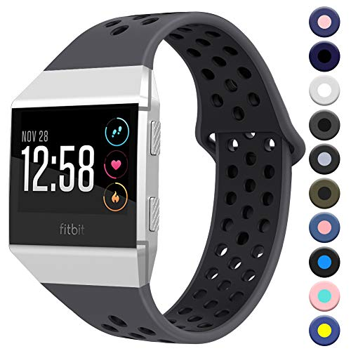 Sunnywoo Bands Compatible with Fitbit Ionic, Soft Silicone Breathable Replacement Wristband Compatible with Fitbit Ionic Smart Watch for Women Men - wiihuu