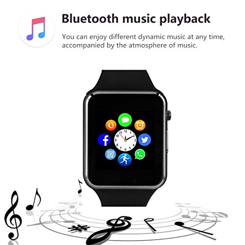 Smart Watch, Smartwatch with SD Card Touch Screen Call Text Message SNS Sync SIM Card Slot Camera Pedometer Music Player Alarm Compatible with Android and IPhone (Partial Functions) for Men Women Teen - wiihuu