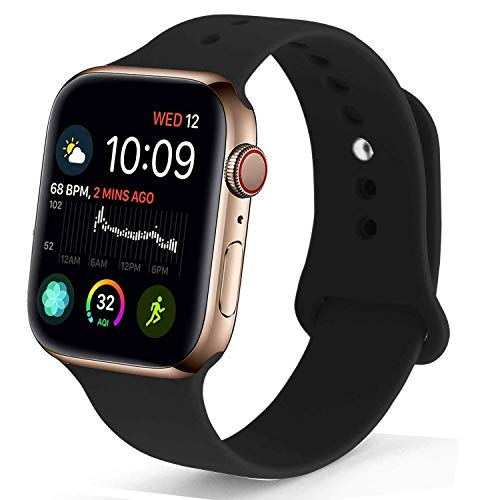 NUKELOLO Sport Band Compatible with Apple Watch 38MM 40MM 42MM 44MM,Soft Silicone Replacement Strap Compatible for Apple Watch Series 4/3/2/1 (Black, 38mm (40mm) s/m) - wiihuu