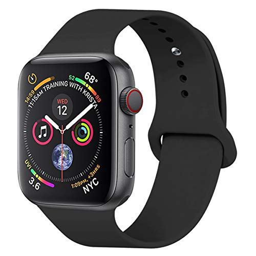 YANCH Compatible with for Apple Watch Band 38mm 40mm, Soft Silicone Sport Band Replacement Wrist Strap Compatible with for iWatch Nike+,Sport,Edition, S/M,Black - wiihuu