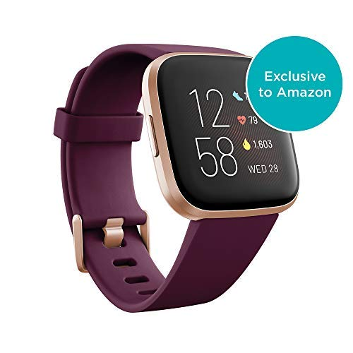 Fitbit Versa 2 Health and Fitness Smartwatch with Heart Rate, Music, Alexa Built-In, Sleep and Swim Tracking, Bordeaux/Copper Rose, One Size (S and L Bands Included) - wiihuu