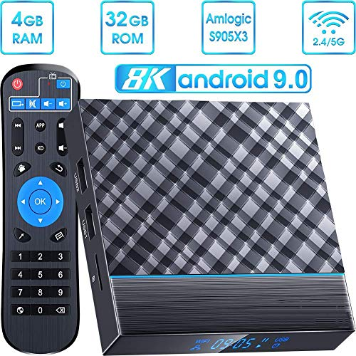 DOOK T95 MAX Android 9.0 TV Box,Android Box 4GB RAM 32GB ROM TV Box Amlogic S905X3 Quad core cortex-A55 Smart TV Box with 3D 8K HD H.265, Dual-WiFi 2.4G/5G, USB 3.0 Streaming Media Player - wiihuu