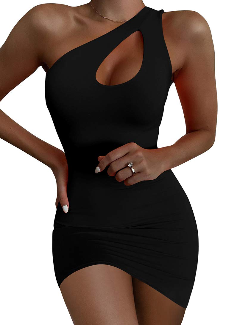 LAGSHIAN Women Sexy One Shoulder Cutout Summer Bodycon Mini Club Dress - wiihuu