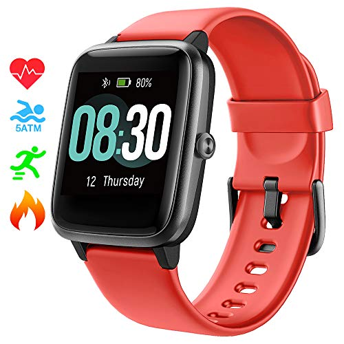 Smart Watch UMIDIGI Uwatch3 Fitness Tracker with 5ATM Waterproof All-Day Heart Rate and Activity Tracking, Sleep Monitoring, Smartwatch for Men Women Compatible with iPhone Android(Cinnabar red) - wiihuu