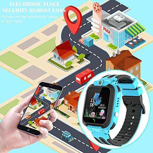 Themoemoe Kids Smartwatch Phone, Kids Waterproof Smart Watch Phone GPS Tracker with SOS Two Way Call for 3-12 Year Old Boys Girls Gift (Blue) - wiihuu