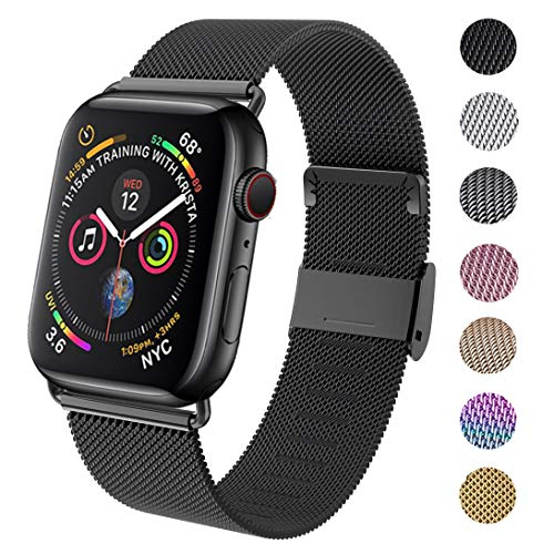 GBPOOT Compatible for Apple Watch Band 38mm 40mm 42mm 44mm, Wristband Loop Replacement Band for Iwatch Series 5,Series 4,Series 3,Series 2,Series 1,Black,38mm/40mm - wiihuu