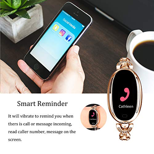 Stylish Smart Watch, MBHB Heart Rate Blood Pressure Sleep Monitor, Fitness Tracker for Girl Ladies Women, Gold (8 inch) - wiihuu