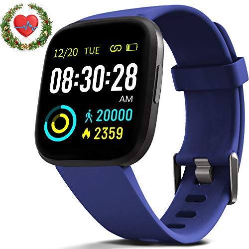 FITVII Smart Watch, Fitness Tracker with IP68 Waterproof Watches, Blood Pressure Heart Rate Monitor with Running Pedometer Step Counter Sleep Fitness Smart Watch for Men Women with iPhone & Android - wiihuu