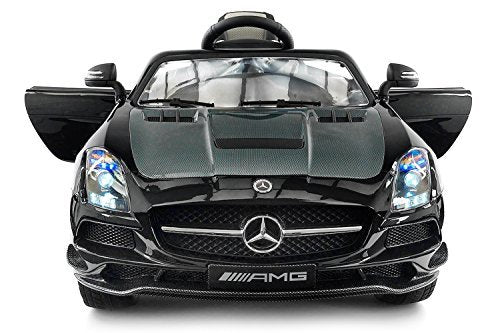 Carbon BLACK SLS AMG Mercedes Benz Car for Kids, 12V Powered Kids Ride On Car, Leather Seat, LED Lights, Parental Remote, Built-in LCD Touch Screen TV Dashboard, Stroller Seatbelt - wiihuu