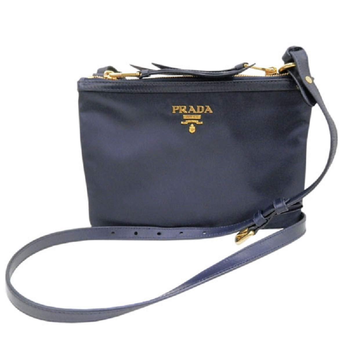 Prada Womens Tessuto Nylon Blue Double Zip Crossbody Bag 1BH046 - wiihuu