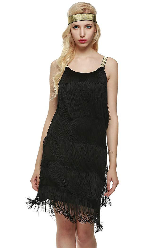 L'VOW Women' 1920s Tassels Straps Dress Gatsby Cocktail Party Fringed Flapper Dresses with Headband (M, X02- Black) - wiihuu