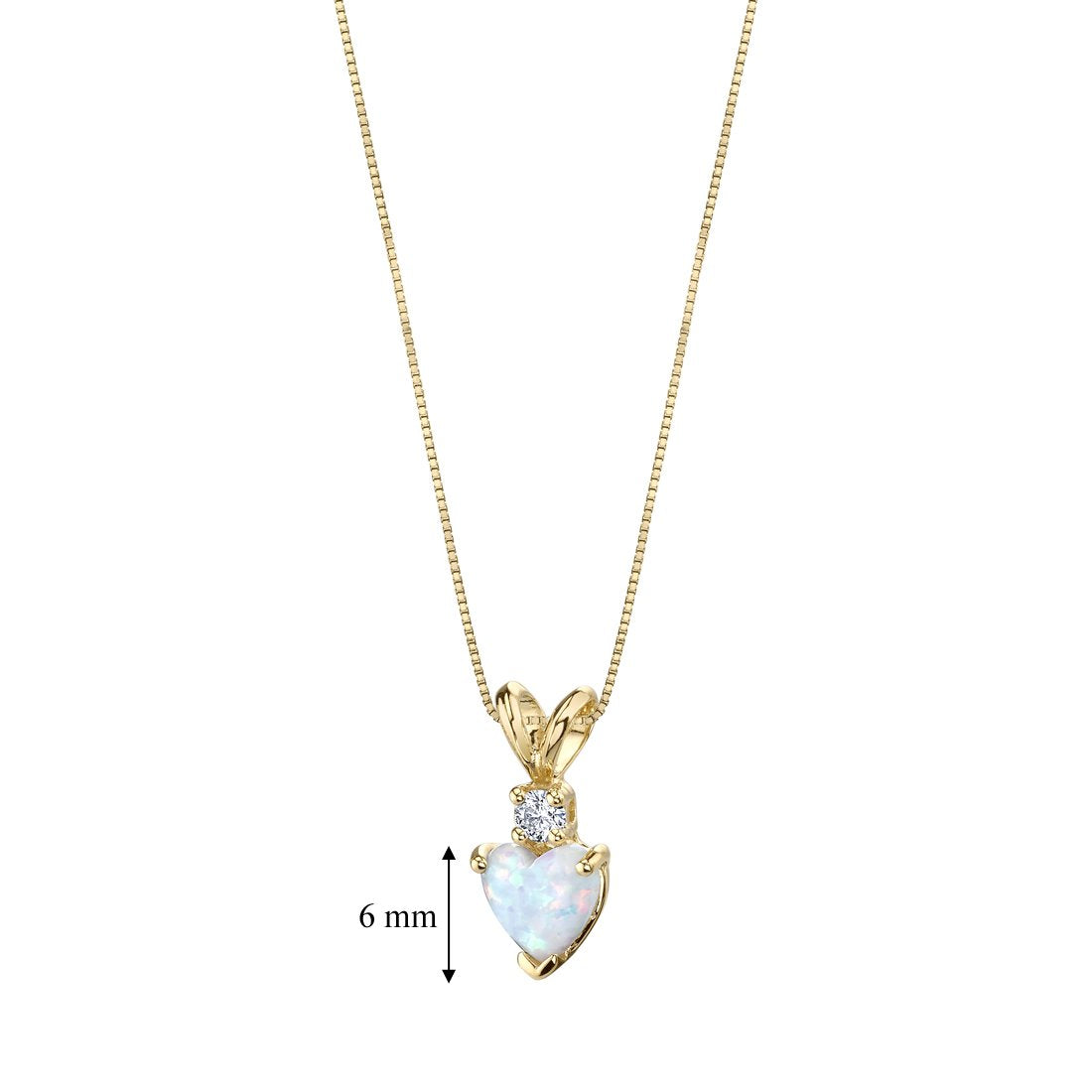 14 Karat Yellow Gold Heart Shape Created Opal Diamond Pendant - wiihuu