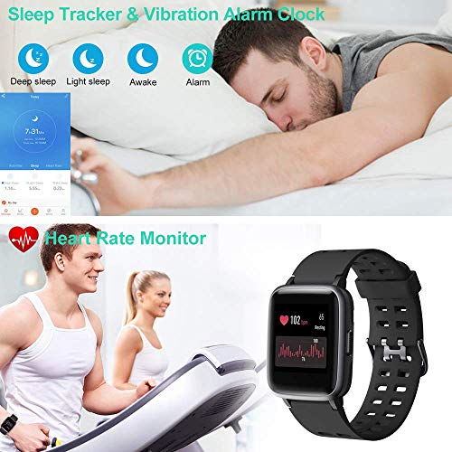 Smart Watch for Android iOS Phone, Fitness Tracker Watch Health Exercise Smartwatch with Pedometer Heart Rate Monitor Sleep Tracker IP68 Waterproof Compatible with iPhone Samsung for Men Women (Black) - wiihuu