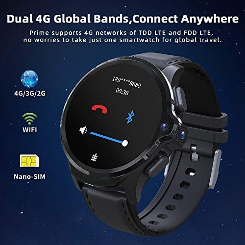 "KOSPET Prime 4G LTE Smart Watch, 3GB RAM+32GB ROM WiFi GPS Smartwatch Phones with 1.6"" Display/1260mAh Battery/Face ID Unclok/Dual Camera, Android 7.1 OS Watches with SIM Card Solt for Men - wiihuu"