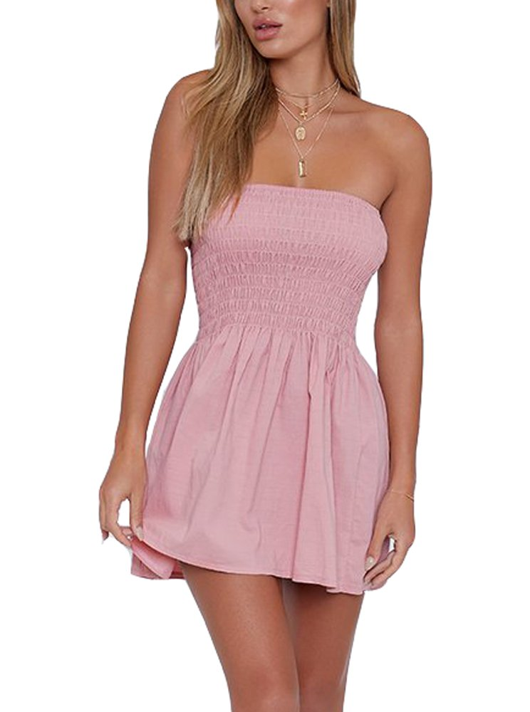 Strapless Dress Women Tube Dress Sexy Summer Comfort Cotton Swing Beach Mini Dress (S, Blush) - wiihuu
