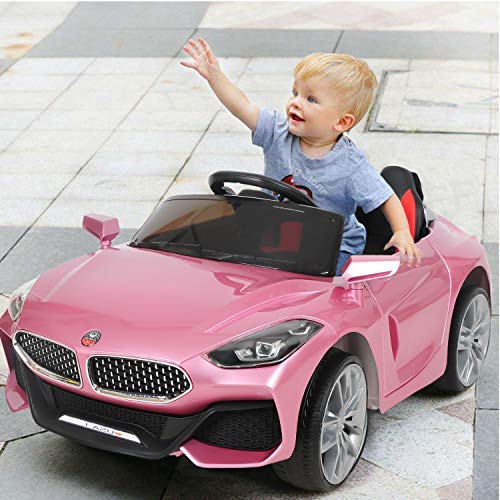 HikeGeek 12V Kids Ride On Car, Electric RC Ride On Toys Battery Powered, Parental Remote Control & Manual Modes, 3 Speeds, LED Lights, MP3, AUX (Pink) - wiihuu
