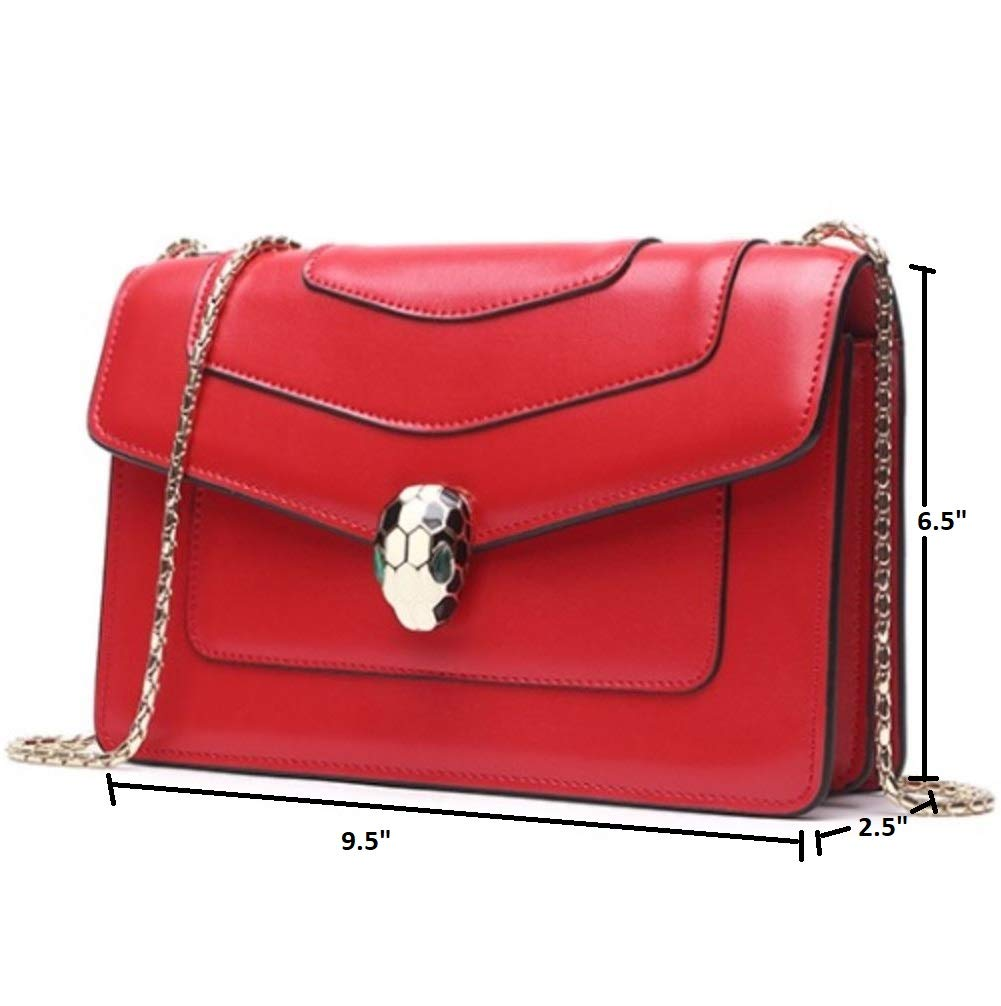 JeHouze Women's Luxury Snakehead Leather Messenger Crossbody Handbag Shoulder Purse (Red) - wiihuu