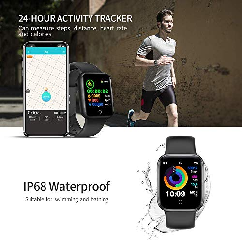 "Smart Watch 5, Fittness Activity Tracker, Heart Rate, Sleep Monitor, Calorie Counter, Pedometer for Samsung Android iPhone. Smartwatch with 1.54"" Full-Touch Color Screen. (Black) - wiihuu"