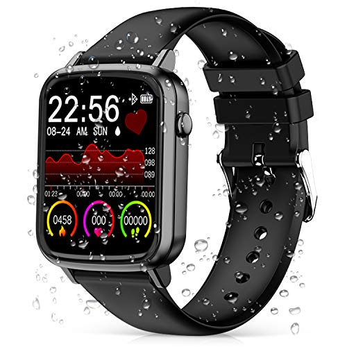 2020 CEGAR Fitness Tracker, Smart Watch with Heart Rate Blood Pressure, Ip68 Waterproof Bluetooth Smartwatch for Android iOS Phone, Sleep Tracking Calorie Counter,Pedometer for Women Men (Black) - wiihuu