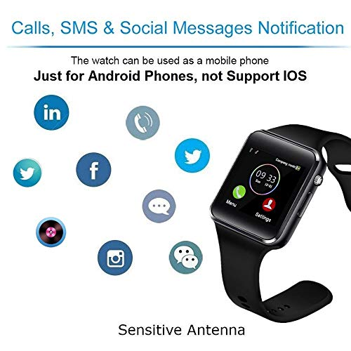Smart Watch Compatible Samsung Android iPhone iOS for Men Women Kids, Wzpiss Bluetooth Smartwatch Touchscreen Wrist Watch Fitness Tracker with Camera Pedometer SIM SD Card Slot (Black) - wiihuu