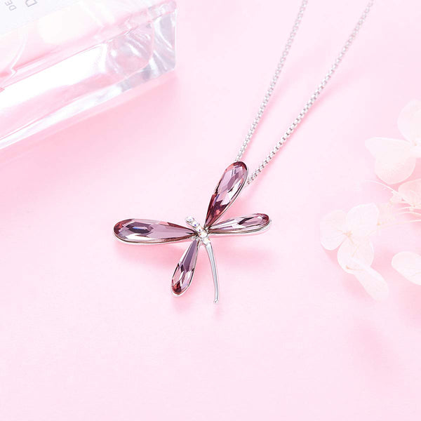 CDE White Gold Plated Dragonfly Crystal Necklaces for Women Girls Embellished with Crystals from Swarovski Jewelry Dainty Pendant Necklace Gifts Box (Classic Pink) - wiihuu