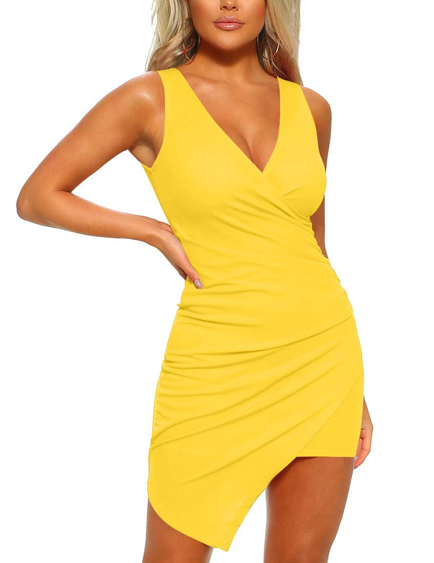 Mizoci Women's Casual Sleeveless Ruched Cocktail Party Dresses Bodycon Mini Sexy Club Dress,Small,Yellow - wiihuu