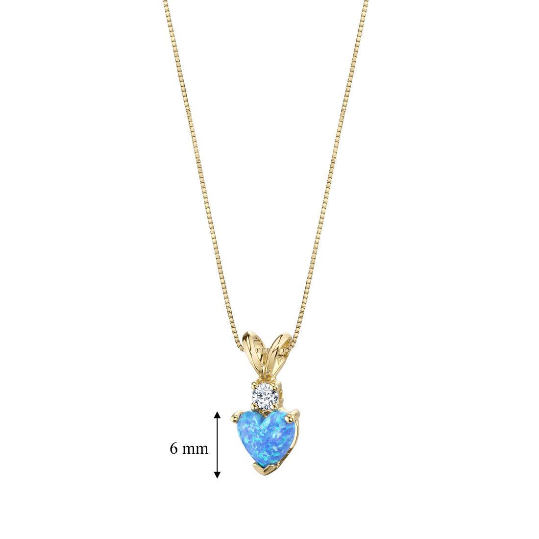 14 Karat Yellow Gold Heart Shape Created Blue Opal Diamond Pendant - wiihuu
