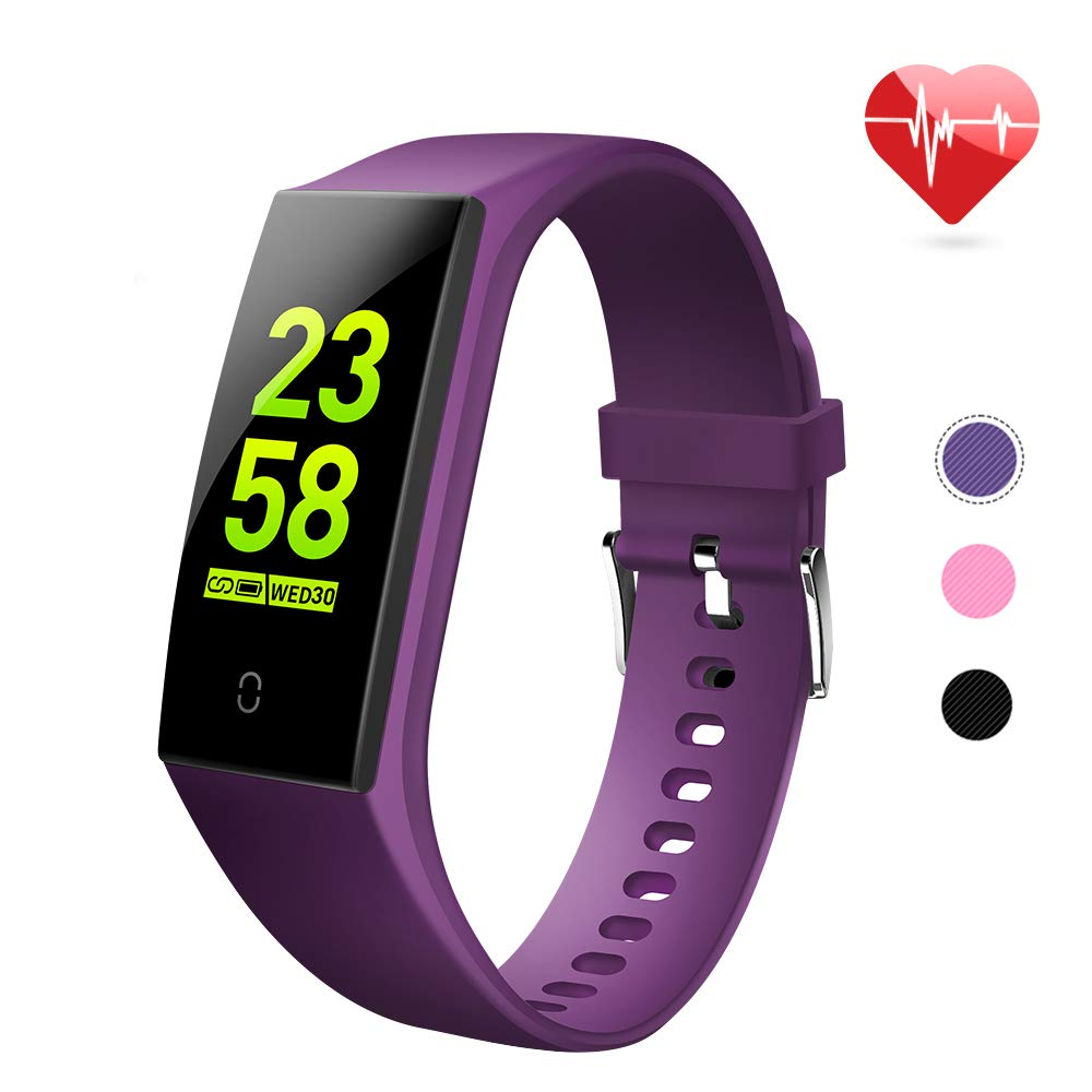 goopow Fitness Tracker, Activity Tracker Watch with Heart Rate Monitor, Waterproof Smart Fitness Band with Step Counter, Calorie Counter, Pedometer Watch Kids Women and Men (Purple) - wiihuu