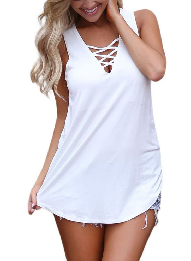 Sipaya Tank Tops for Women White Tanks V Neck Shirts Sexy Tops for Juniors S - wiihuu