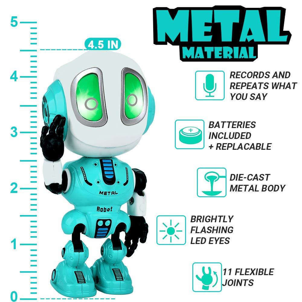INLAIER Mini Talking Robot Toys Robots Toy for Kids, Boys, Girls Metal Talking Robot Kit Bright LED Toys Interactive Voice Changer Robot Travel Toys (Blue) - wiihuu
