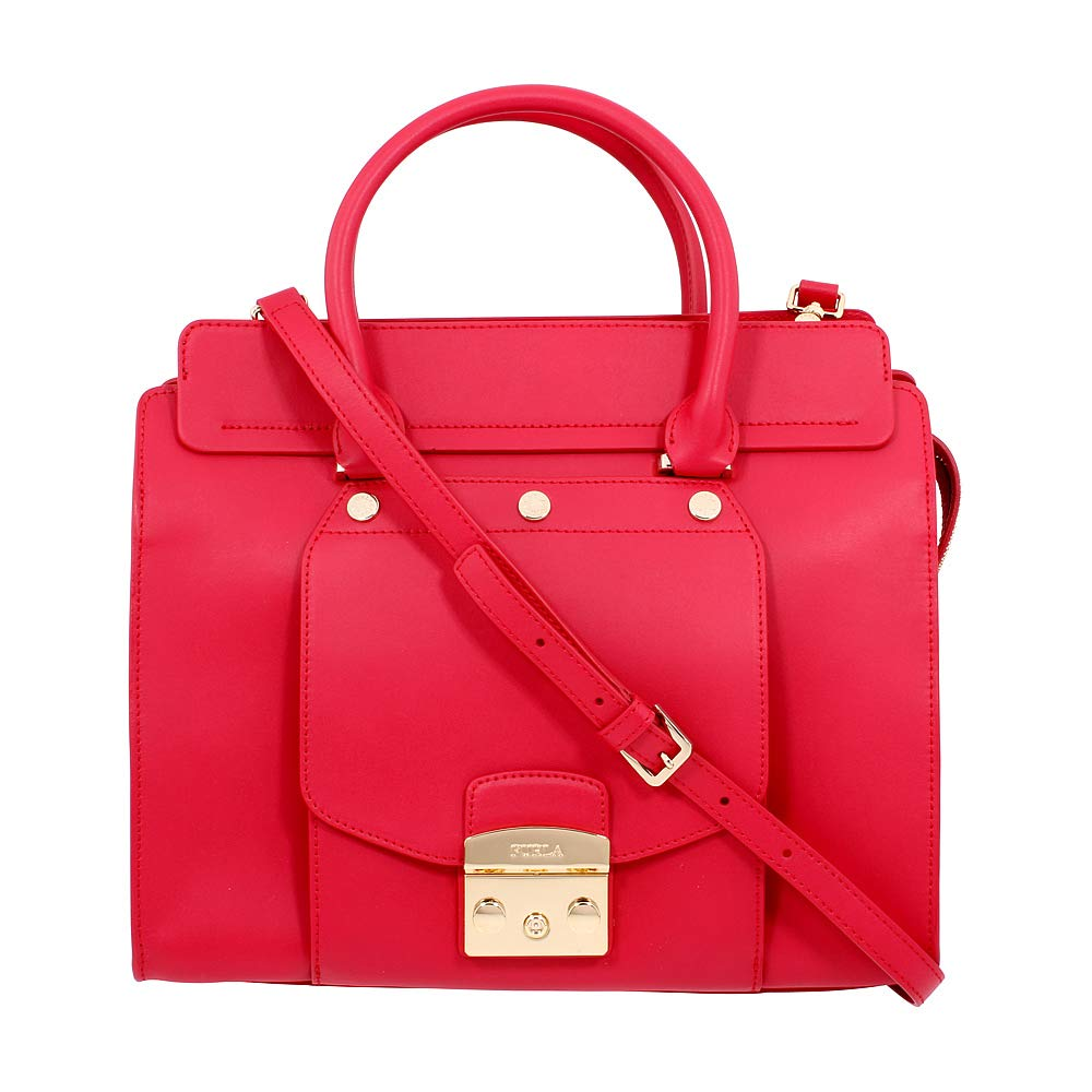 Furla Metropolis Magia Ladies Medium Red Ruby Leather Satchel 978003 - wiihuu