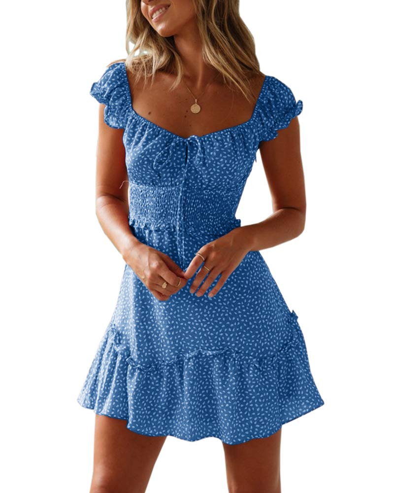 Yobecho Womens Summer Ruffle Sleeve Sweetheart Neckline Printing Dress Mini Dress - wiihuu