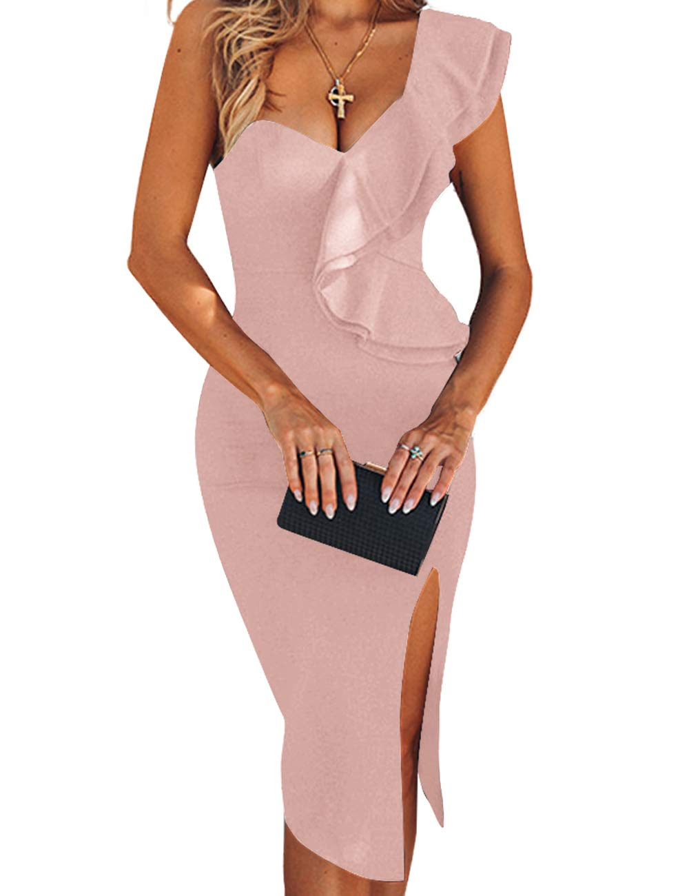 UONBOX Women's One Shoulder Sleeveless Knee Length Side Split Fashion Bandage Dress (S, Apricot) - wiihuu